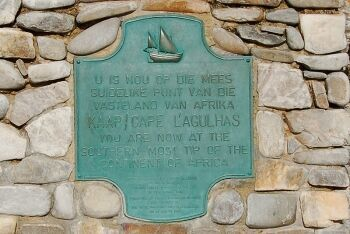 Detail of the marker at Cape Agulhas, Overberg, Whale Coast